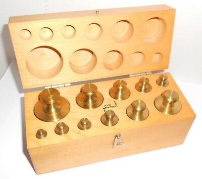 Vintage Ohaus Brass Weights 12 Piece set Oz. and Gm.