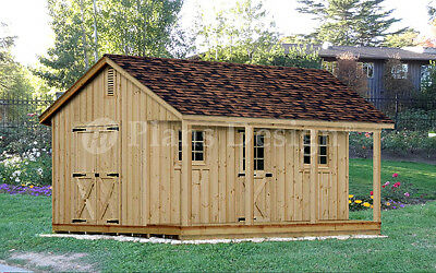 18' x 20' Building Storage / Utility Shed Detailed Plans / Blueprints, #P51820
