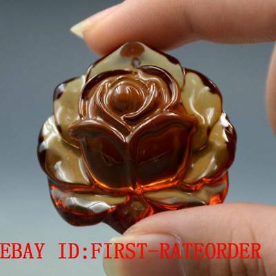 12.1g 100% Natural Baltic Amber Stone Hand-carved Rose Flower Statue Pendant F34