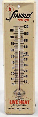 Stanolex Fuel Oils Metal Thermometer Amoco Standard American Gas Advertising