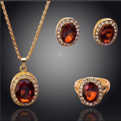 3pcs new 14k gold plated champagne necklace earring ring jewelry set women gift