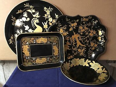 Vintage Tole Ware All Hand Painted CT Artist Gold Leaf Designs Lot of 4