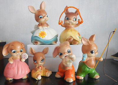 Vtg Josef Originals Bunny Hutch Family Lot Of 6 Anthropomorphic Rabbits