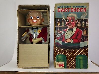Tin Toy Bartender made in Japan by Rosko during the 1960's