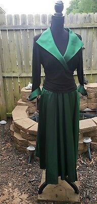Terramina Collection Dress Green Black with Diamond Studded Sleeves