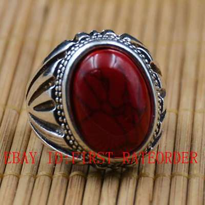 Tibetan Silver Hand-carved Inlaid Red Turquoise Rings F11