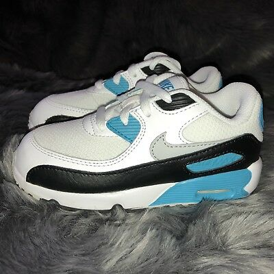 bb5a89c4f4168 Nike Air Max 90 Mesh TD Kid s Infant Toddler White Blue 833422-101 - Size