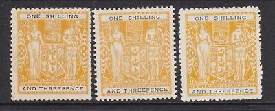 New Zealand Arms. 1/3 Yellow and black 3 different types Hinged mint SG 192-b