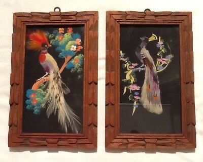 Vintage Framed Pair Of Hand Painted Real Feather Bird Pictures Mexican Folk Art