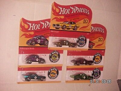 HOT WHEELS 50th ANNIVERSARY REDLINES w/BUTTONS  UNPUNCHED  SET OF 5  ON-HAND