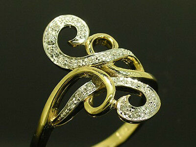 R171 Genuine 9ct Yellow SOLID Gold NATURAL Diamond SWIRL Scroll Ring size N 6.75