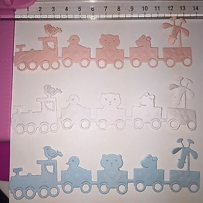 Die Cuts! 6 Pc 'Baby Train w/Animals' EmBossed Boy Girl White/Blue/Pink