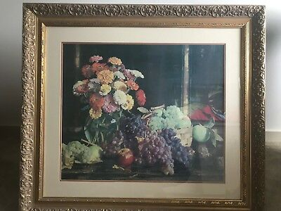 Hans Heysen large antique timber and plaster framed print Zinnias & Autumn Fruit