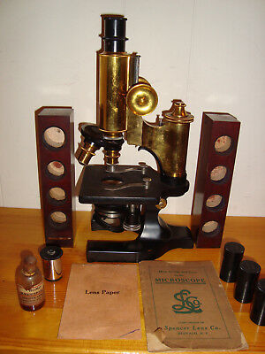 Antique Early 1900s Spencer Microscope Brass with Case and Key incl Papers