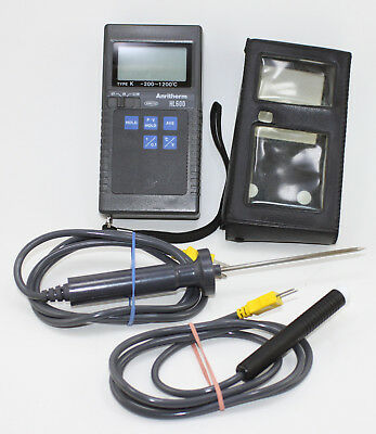 Anritsu Anritherm HL600 Portable Digital Thermometer with Two Probes and Case