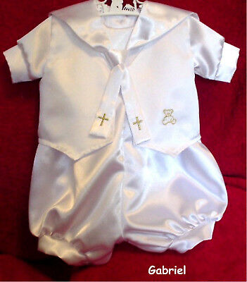 christening boys romper set,outfit,handmade to your order, from 0000 to size 1.