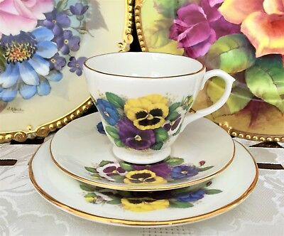 Crown Trent China Limited Fine Bone China Made In England Pansy Pattern Trio