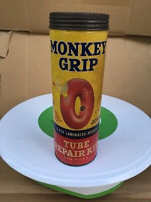 Vintage Collectible Monkey Grip Tire Tube Repair Kit Advertising Paper Can