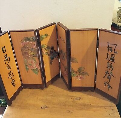 Vintage Oriental Painted Pyrography Screen - Small