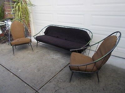 Vintage Retro Outdoor Indoor Metal Lounge Suite Setting 3 seater  & 2 Armchairs