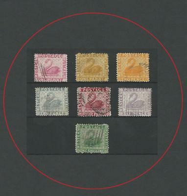 WESTERN AUSTRALIA 1861-90 EARLY SWANS 1d TO 1/- (7)