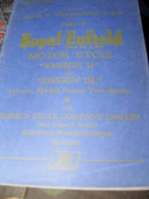 Royal Enfield 148 Ensign Ii / Iii Spare & Replacement Parts Manual  1957 / 58