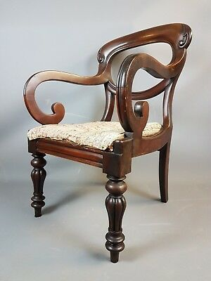 Large 19thC Red Walnut Armchair