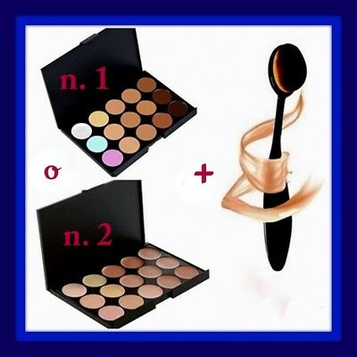 1 palette make up,15 correttori in crema viso/base trucco/fondotinta+1 pennello