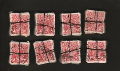 COLLECTION KGV 2d RED X 800 IN BUNDLES 100 X 8 USED PRE DECIMAL AUSTRALIA