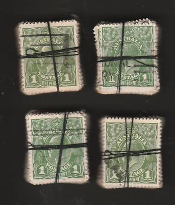 COLLECTION KGV 1d GREEN X 400 IN BUNDLES 100 X 4 USED PRE DECIMAL AUSTRALIA
