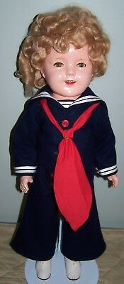 1930's COMPOSITION IDEAL SHIRLEY TEMPLE IN CAPTAIN JANUARY OUTFIT - 25""