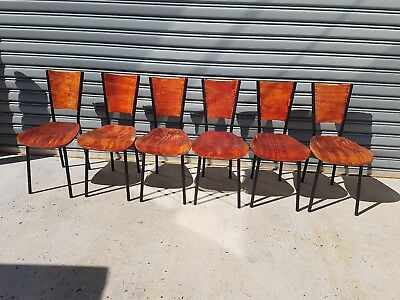 6 Dining Chairs Metal And Wood Good Condition