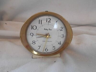 VINTAGE Working 1960s Metal ALARM CLOCK 9cms WIND UP Westclox BABY BEN White