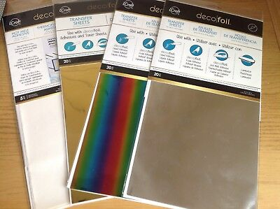 Deco Foil Bundle 60 Sheets Transfer Gold/Silver/Rainbow + 5 Sheets Hot Melt adhe