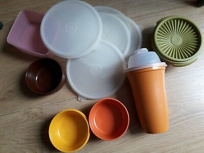 x 12 Mixed lot of tupperware items some vintage,  lids, containers