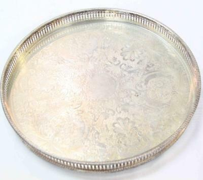 Vintage Whitehill Silver plated Round Gallery Serving Tray 32cm Sheffield#15275