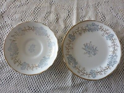 Tuscan England Bone China Side Plate And Saucer Blue Floral Pattern Gilded 1947+