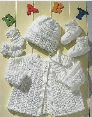 Vintage Knitting Pattern for Baby Matinee Coat, Bonnet, Mittens And Bootees