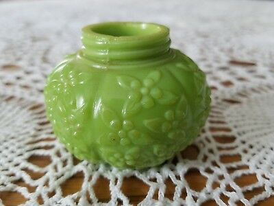 "Antique Challinor Opaque Green Glass Salt Shaker Forget Me Not Flower 1.75""T"