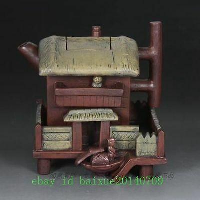 Antique Chinese old Yixing purple sand teapot - Modelling house e01