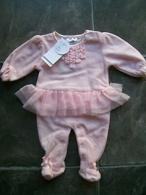 BNWT Baby Girl's Pink Velour Frilly Coverall/Romper/Jumpsuit Size 0000