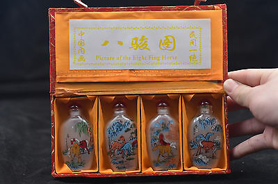 4pc Chinese folk Inside painted Eight Horses Fig glass SNUFF BOTTLE c02