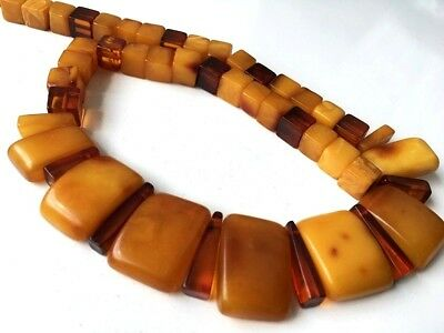 RARE! Antique OLD  Amber Natural Vintage Butterscotch Yolk AMBER Beads Necklace