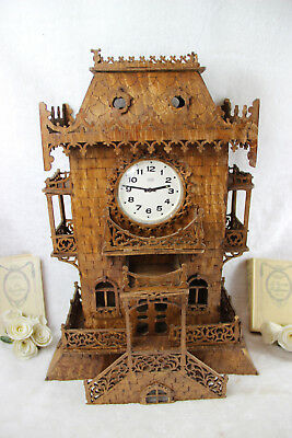 Rare XXL French wood cut carved  Artisan Mantel Clock Castle House 1960