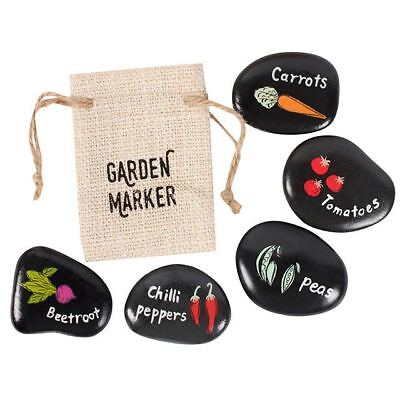 Garden Vegetable Stone Markers Tomato Beetroot Peas Carrots Chilli with Gift Bag