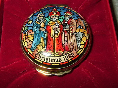 Halcyon Days Enamel Trinket Box, Christmas 1989