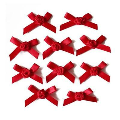 Buddly Crafts 7mm Satin Ribbon Bows with Rose 10pcs - Red