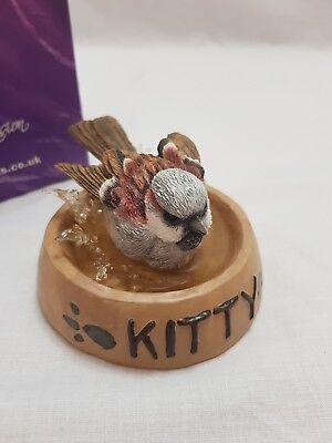 Country Artists Broadway Birds House Sparrow With Kitten Bowl Figurine
