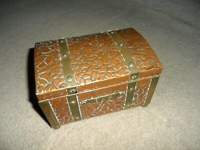 Antique Arts And Crafts Copper And Brass Tea Caddy