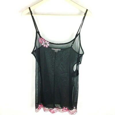 Victoria's Secret (W2-24) Women's Large Black Camisole Floral Sheer Cutout Side